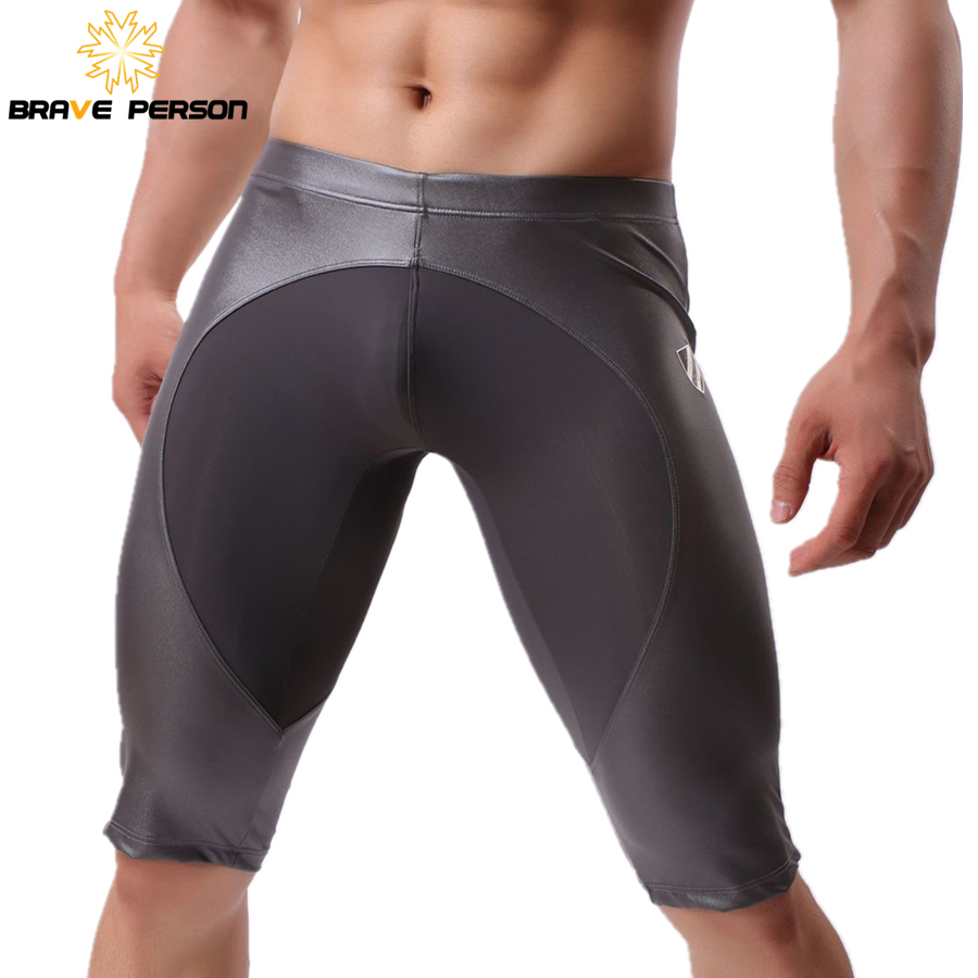 BRAVE PERSON Men's Board Shorts Imitation Leather Knee-length Tights Shorts Men Beach Wear Shorts Men Trunks Fitness 2019 New
