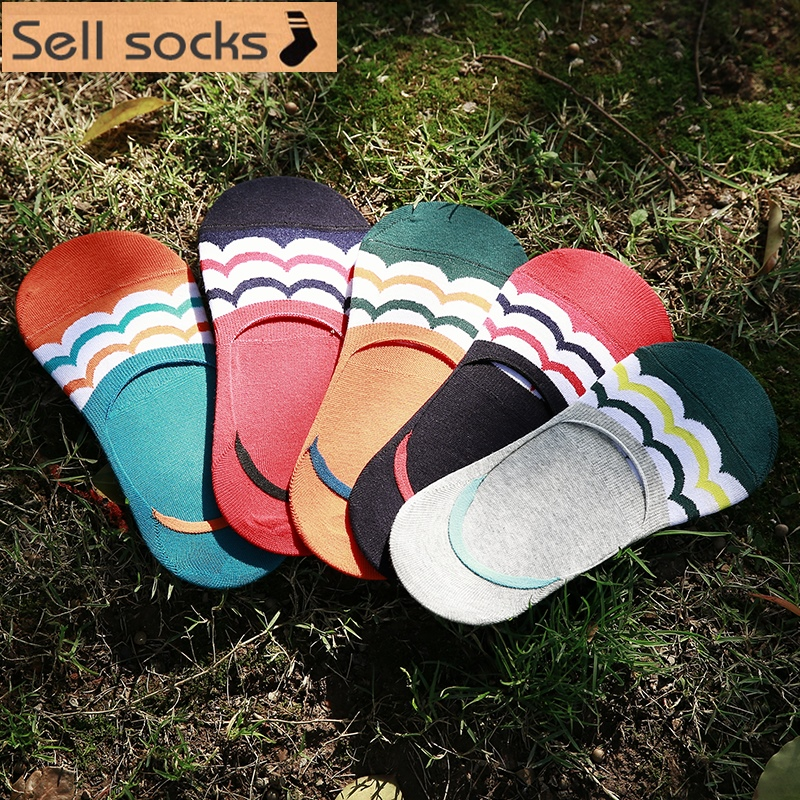 Clearance! High Quality Summer Short Man Cotton Socks Invisible Man Sock Slippers  Silicone Anti Slip Casual 5pairs/lot