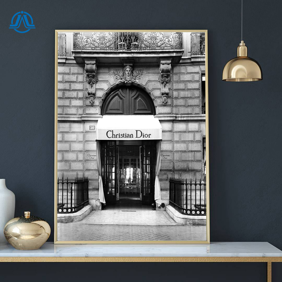 Vogue Paris Luxury Brand Posters And Prints Black White Fashion Building Wall Art Canvas Print Beauty Picture For Lady Girl Room