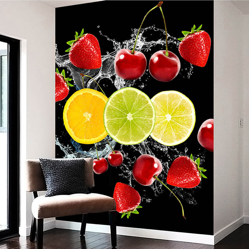 Photo Wallpaper HD Water Spray Fruit Cherry Strawberry 3D Stereo Mural Restaurant Kitchen Living Room Entrance Wallpaper Murals
