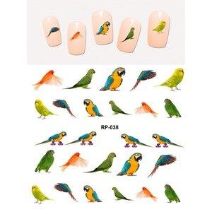 Наклейки для ногтей, слайдер с водой, наклейки для ногтей, птицы, попугаи, Попинджей, дятел, Орел, ласточка, фазаны, лебеди, RP037-042