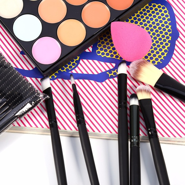 20pcs Makeup Tools 50pcs Eyelash Brushes With 15 Color Concealer Palette Powder Puff Black Cosmetic Kit Makeup Set Tools