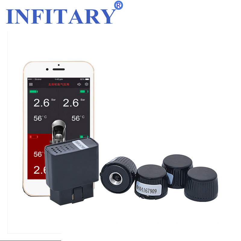 Wireless TPMS Bluetooth Mobile Phone APP Control Display Tire Pressure Monitor Systems 4 Internal/External Sensors OBD Interface mobile waste processing systems and treatment technologies