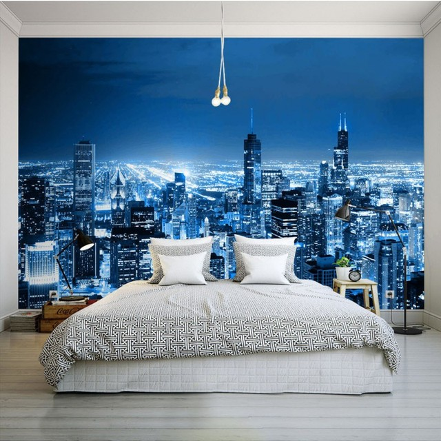 Photo Wallpaper Custom Modern City Night View Wallpaper Living Room Hotel  Mall Corridor Mural Balcony Bedroom