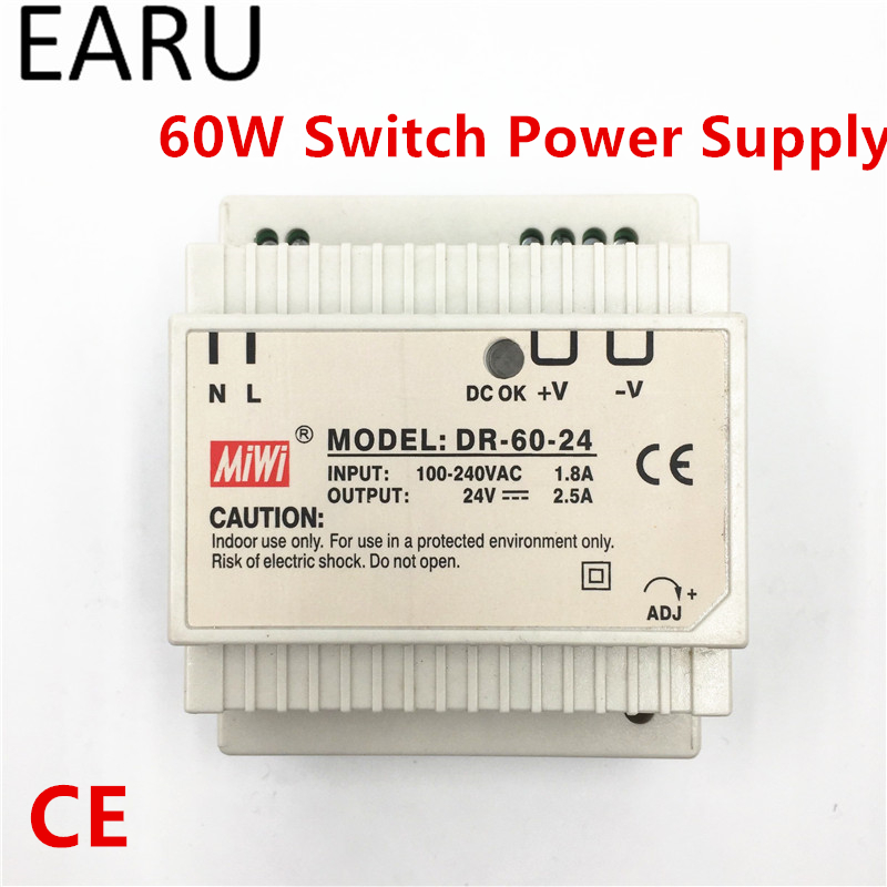 1Pc Din Rail Switch Power Supply 60W 24V 2.5A Output AC DC Converter DR-60-24 Good Quality OEM Voltage Transformer Adapter dhl ems 1pc for good quality ha ff33 ac servo good quality