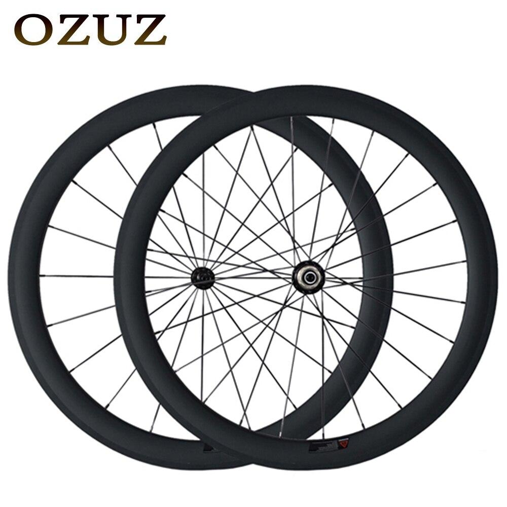 Free Custom OZUZ Super light Carbon Fiber Road Wheels 50mm Clincher Tubular 3K Matte/3K Glossy 700C Wheelset Powerway R13 Hub цена