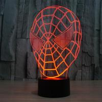Creative Spider Man Optical Illusion Touch Switch 3D LED Nightlight Of Colorful Lights Micro Night Energy