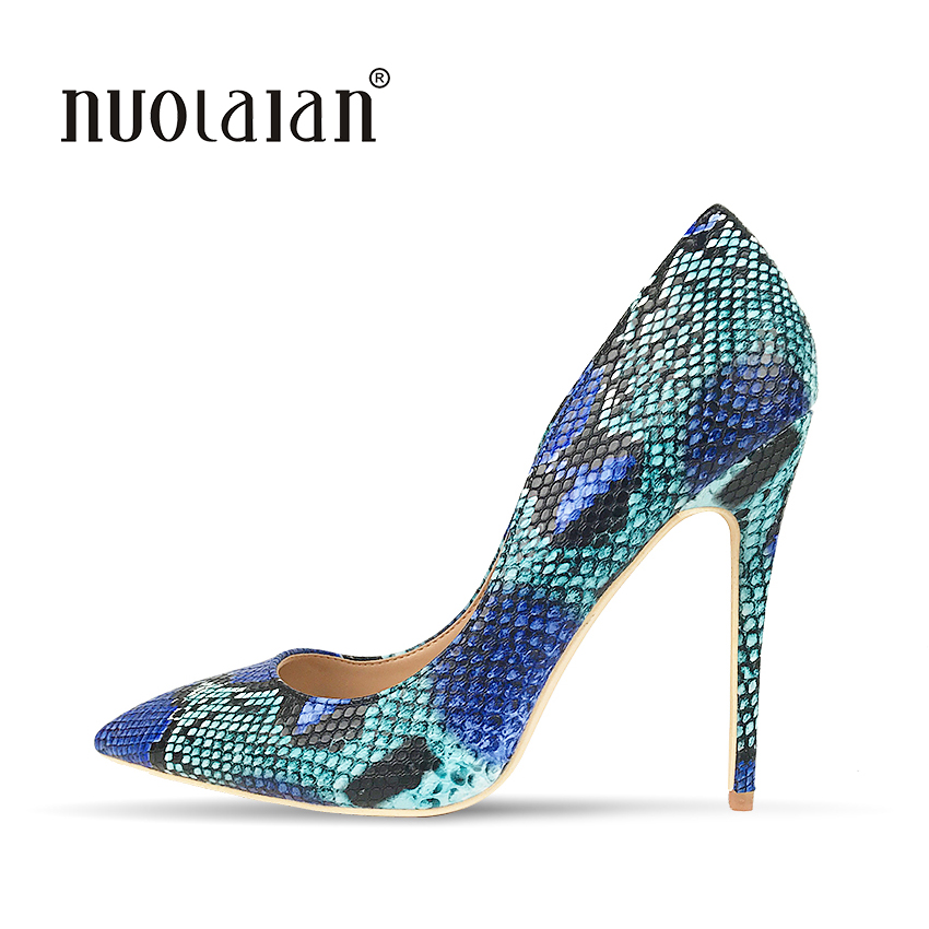 2018 Women Shoes Stiletto 12CM High Heels Women Pumps Snake Printing Leather Pointed Toe Blue Ladies Party Wedding Woman Shoes 我的第一本数学童话·数的基础·10以内数字的拆分与组合:去送圣诞礼物喽(适读3 6岁)