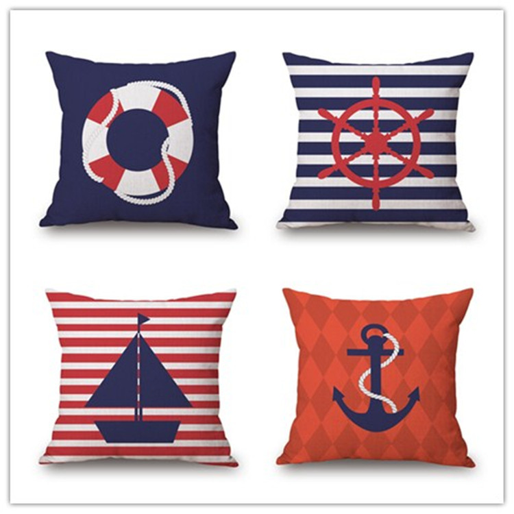 Cushion Cover Nautical Diary Pillow Rudder Decorative Throw Pillow Cover Living Room Home Cotton