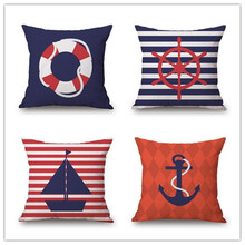 Cushion Cover Nautical Diary Pillow Rudder Decorative Throw Pillow Cover Living Room Home Cotton Linen Cushion цена