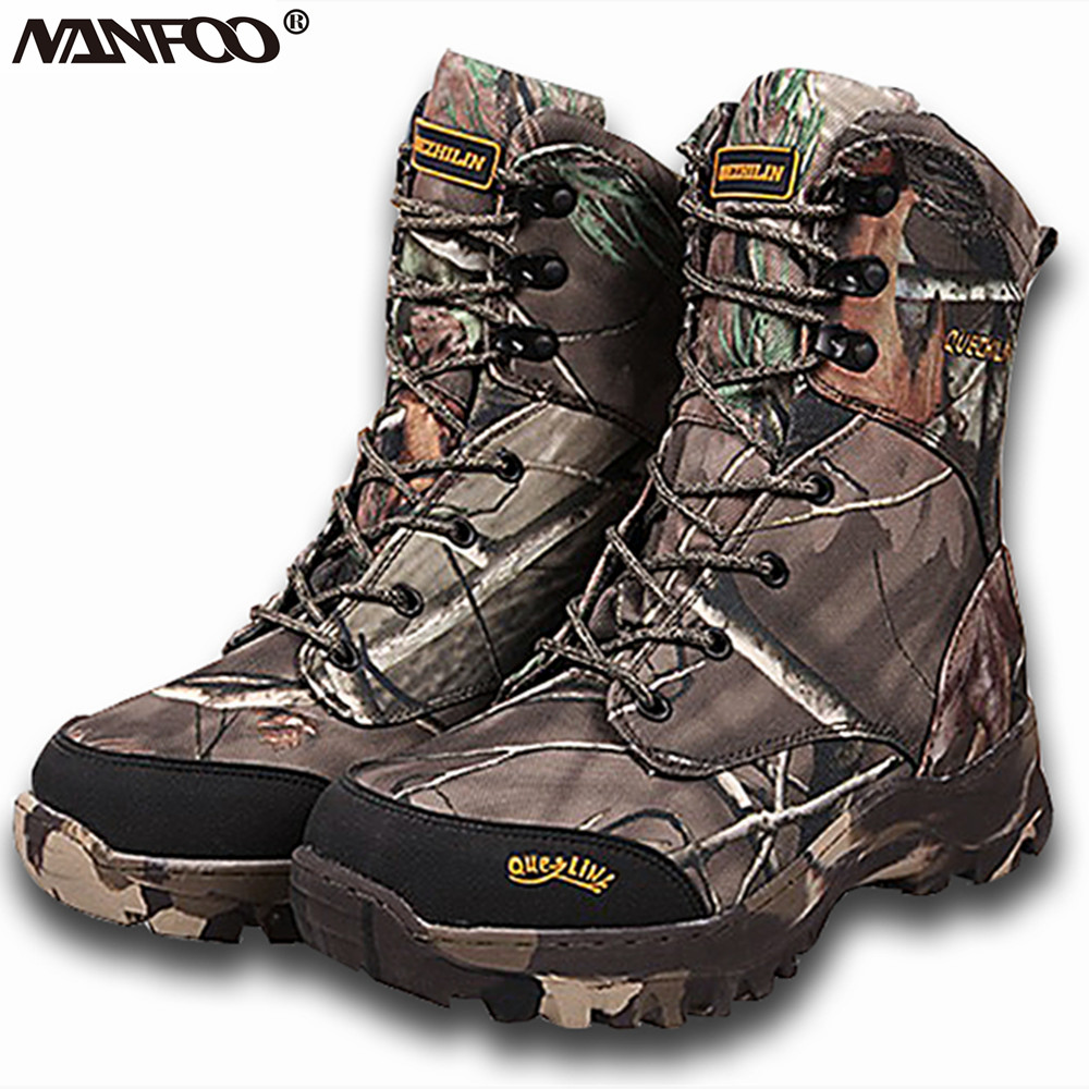 Popular Tree Camo Hunting Boots Autumn Winter Anti Slip Boots Waterproof Bionic Camouflage Tactical Fishing Walking Shoes 38-47
