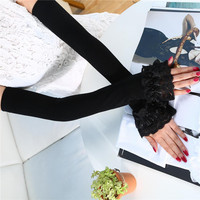 2017 Guantes Mujer Summer Fashion Monochrome Ice Lace Sunscreen Gloves Long Paragraph Wild Female Arm Sleeve Factory Outlet