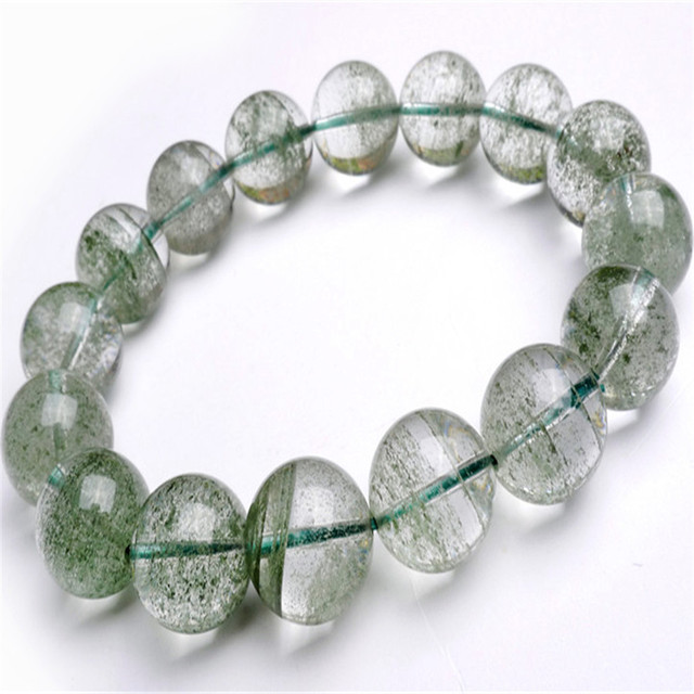 13mm Genuine Natural Green Chlorite Phantom Quartz Crystal Round Beads Jewelry Powerful Women Men Stretch Bracelet Free Shipping