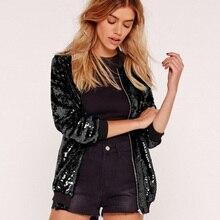 Fashion Women Sequins Coat Bomber Jacket