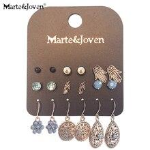 Marte и Joven старинное серебро ретро падение Комплект сережек для женщин 9 пар/компл. женские ювелирные изделия включают в себя классические ладонь/лист серьги
