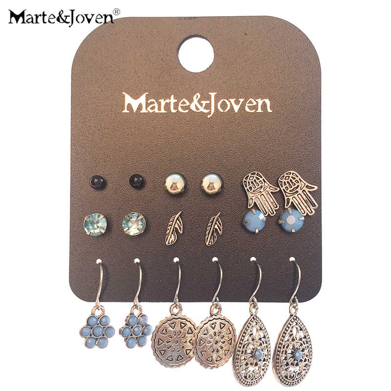 Marte&Joven Antique Silver Retro Drop Earrings Set for Women 9 Pairs/set Ladies Jewelry Include Classic Hand Palm/Leaf Earring