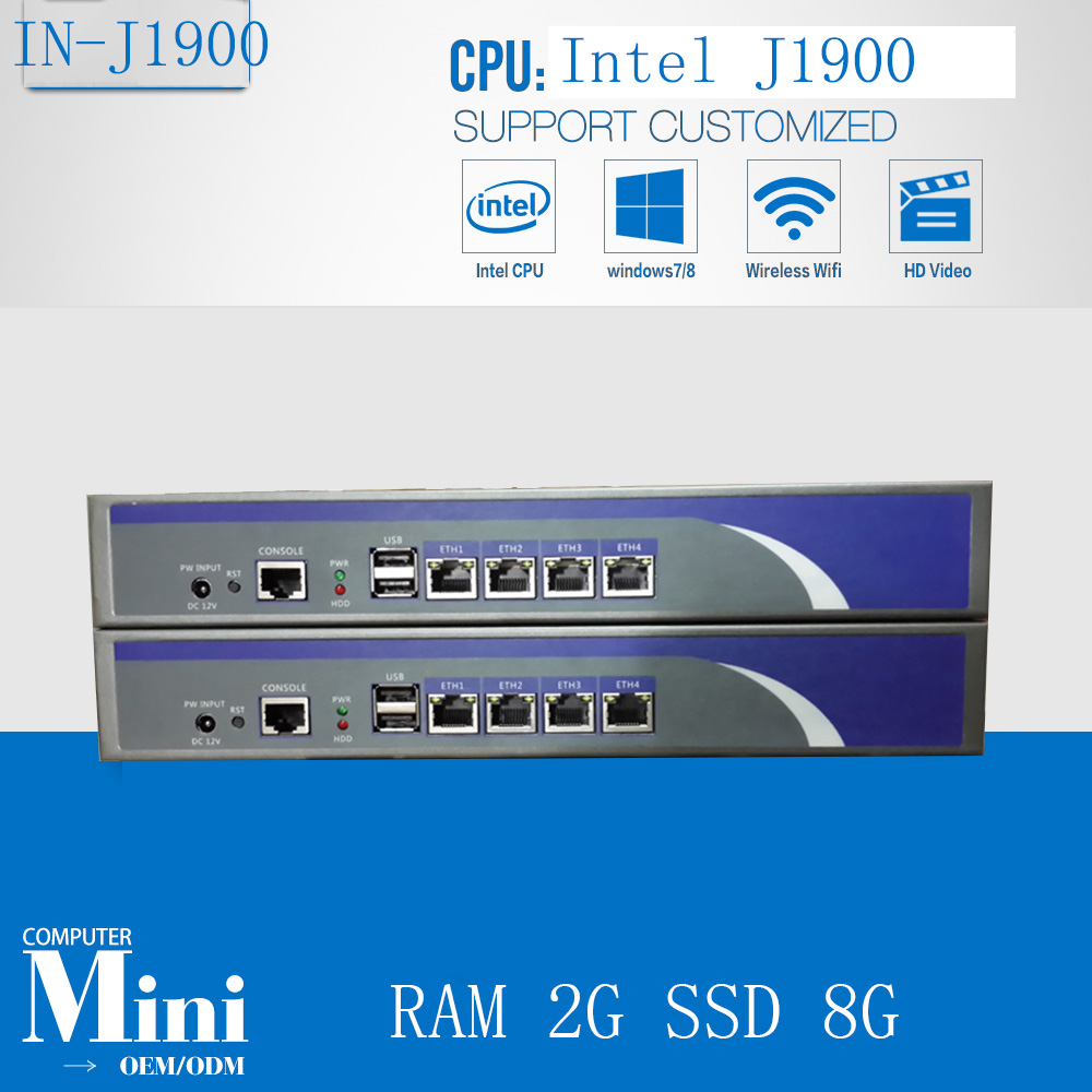 J1900 2.0GHZ Cheap 4*intel 1000M 82583v Ethernet Firewall Security Appliance Rack Router/Network Server With RAM 2G SSD 8G