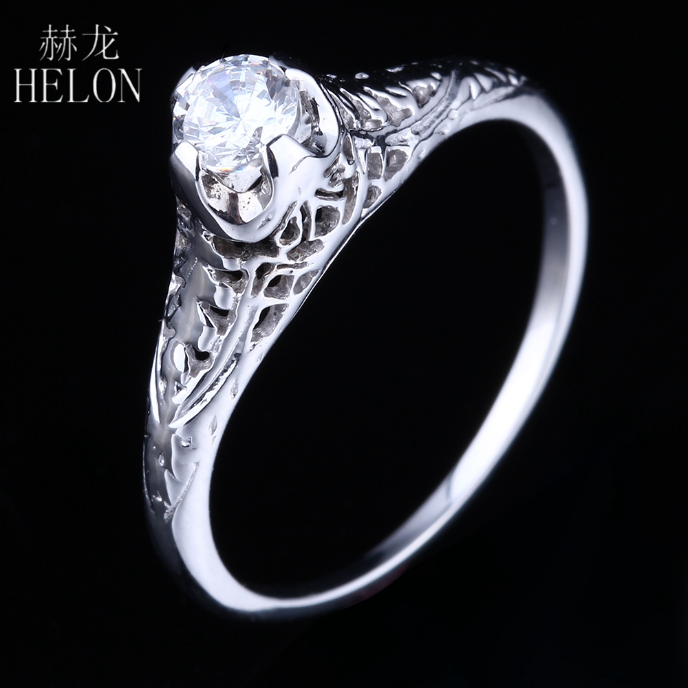 Helons Solid 14k White Gold Art Nouveau Style 4mm Round Aaa Graded Cubic  Zirconia Antique Wedding