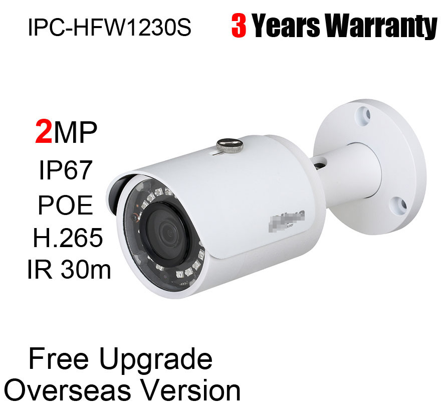 Dahua 2MP Security Bullet IP Camera H.265 POE P2P IR IP67 WDR IPC-HFW1230S 3.6mm