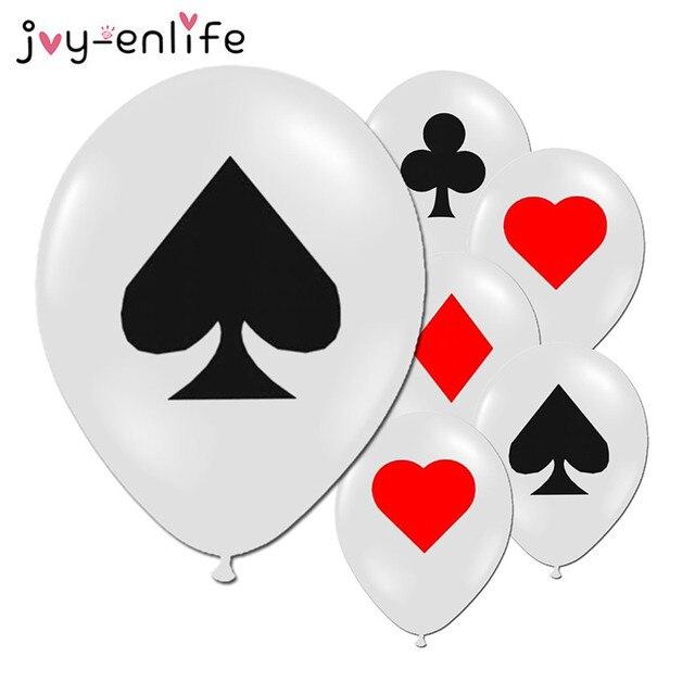 JOY-ENLIFE 10 pcs Spades/Trái Tim/Câu Lạc Bộ/Kim Cương Bóng Latex Casino Thẻ Xúc Xắc Xi Nguồn Cung Cấp Bên Trang Trí Nội Thất Chơi thẻ Poker