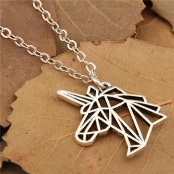 Silver Unicorn Head Necklace Birthday Gift Jewelry