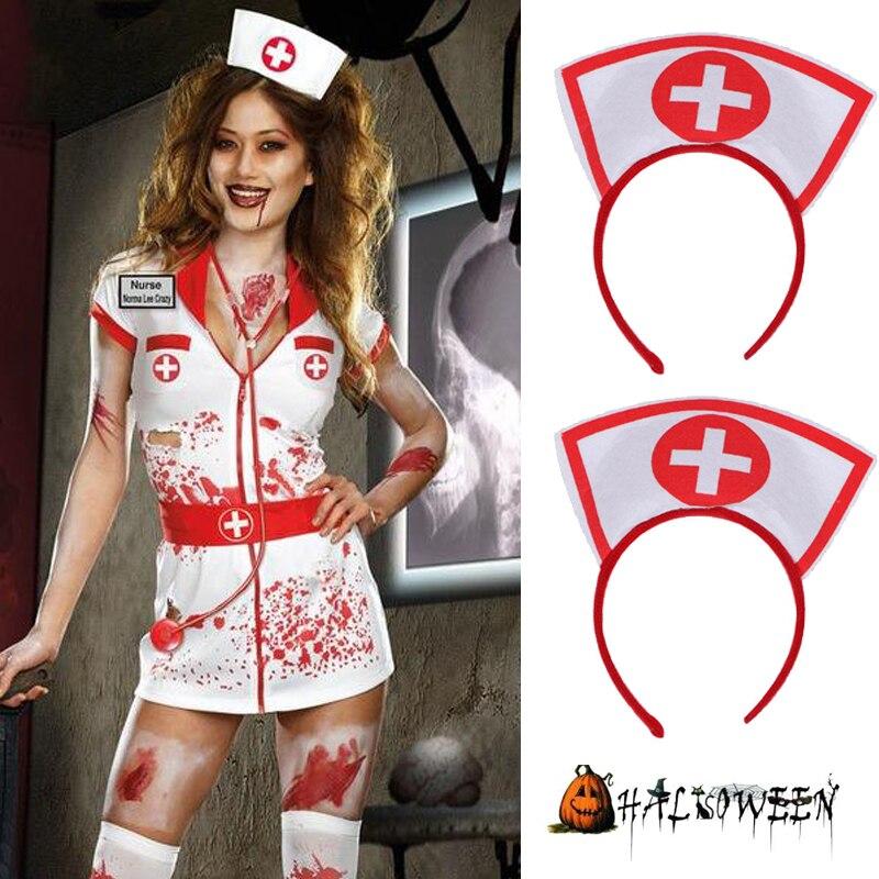 Naughty Nurse Hat Headband Halloween Halloween Party Supplies Fancy Dress Cosplay Hairband Halloween Decoration