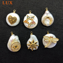 natural White Coin Pearl micro CZ pave copper charm gold color plated star heart moon shape Pendant DIY jewelry findings