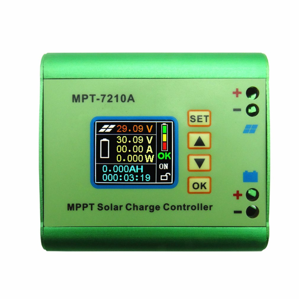 MPPT-7210A Solar Panel Battery Regulator Charge Controller With LCD Color Display 48V 10A With DC-DC Boost Charge Function 20a 12 24v solar regulator with remote meter for duo battery charging