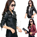 Hot New 2016 Mujeres Faux Leather Jackets jaqueta couro Abrigo de Invierno en cuir veste femme Negro Rojo Chaqueta de Motorista de La Motocicleta Barato Z2