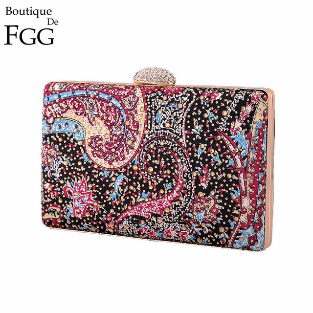Bling Bling Women Mini Hot Fixed Crystal Evening Purse Hard Case Metal Wedding Party Dinner Prom Print Handbags Clutches Bags