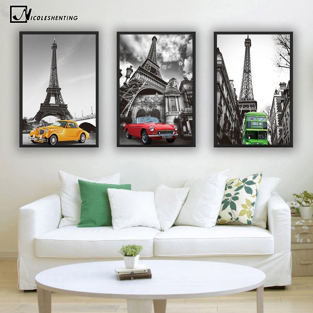 Toko Online Paris Menara Eiffel Poster Seni Minimalis Kanvas