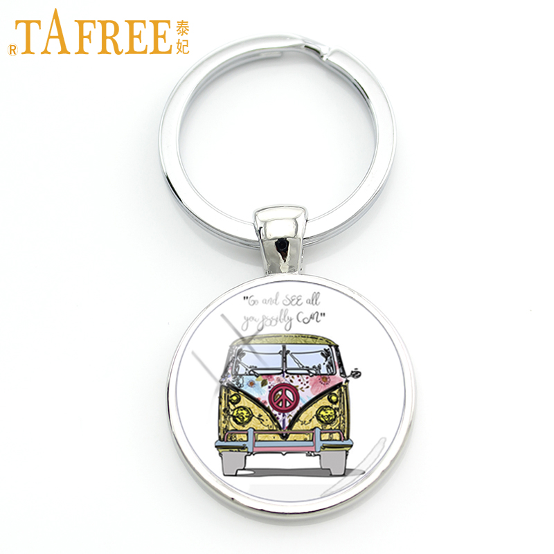 TAFREE exquisite handmade glass gem Hippie Peace Sign Van Bus men keychain high quality pendant car key chain ring jewelry CT106