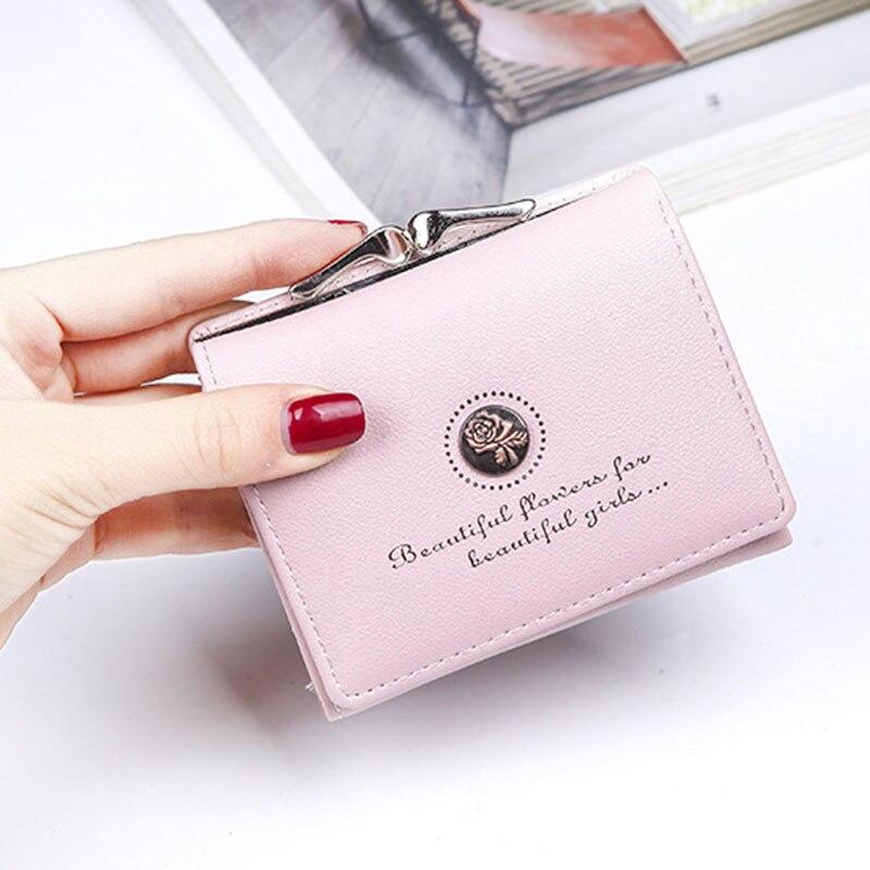 027f3b89836a 2018 Новый женский кошелек для монет Короткие Кошельки маленькие PU кожаные  женские деньги сумка клатч женский