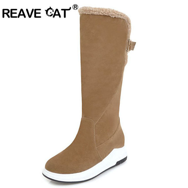 7c2bf1b99f31b REAVE kot kobiety połowa kozaki buty damskie buty zimowe klamra zwiększenie  klamra futro utrzymać ciepłe Flock
