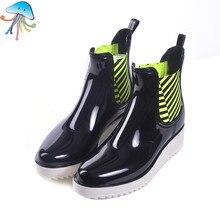 2016 Women's Non Slip Martin Short Ankle Rain Boots Comfortable Soft Walking Waterproof Rainshoes for Lady Botas Lluvia Mujer