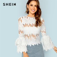 SHEIN White Elegant Sexy Going Out Tiered Ruffle Sleeve Eyelet Lace Blouse 2018 Summer Pullovers Round Neck Tops And Blouses