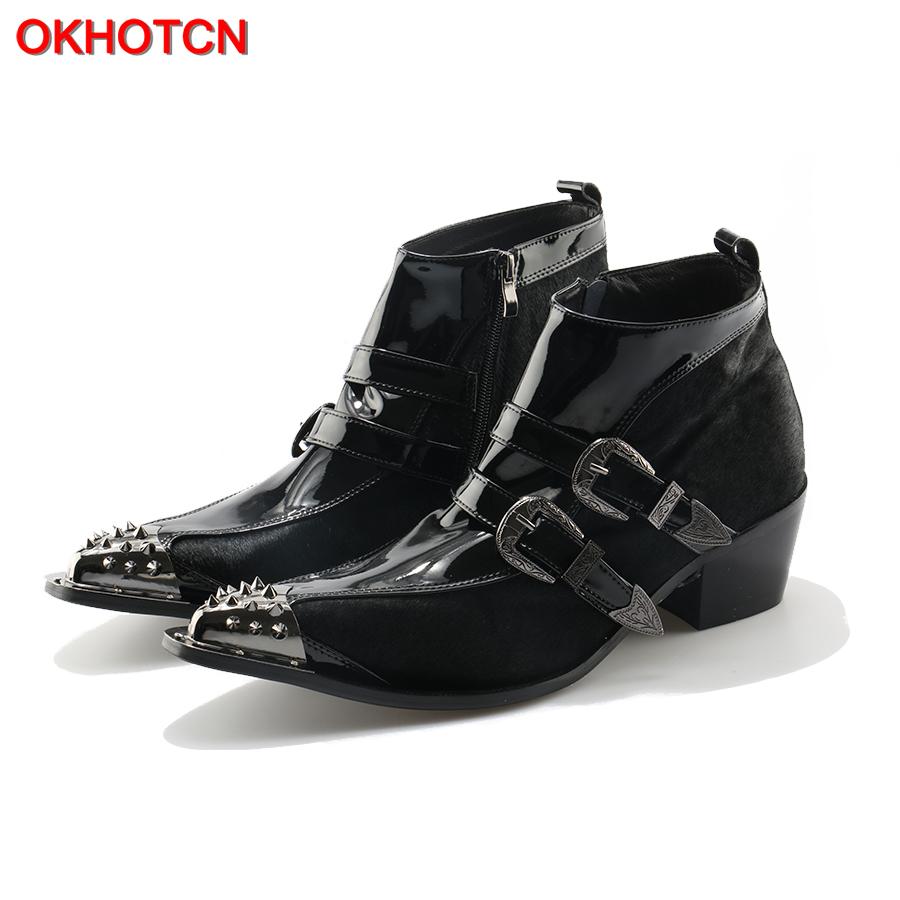 OKHOTCN Genuine Leather Men Ankle Boots Iron Rivets Pointed Toe Mens Military Cowboy Boots Horsehair Double Buckles Botas Hombre