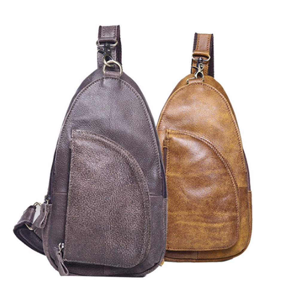 Men Genuine Leather First Layer Cowhide Messenger Shoulder Cross Body Bag Travel Climb Male Sling Chest Back Pack Daypack genuine leather bag cowhide shoulder men