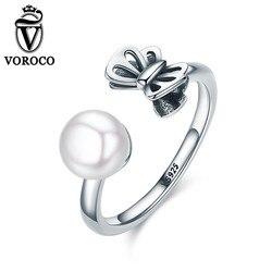 Voroco 2017 100 925 sterling silver double butterfly freshwater open cuff adjustable rings for women wedding.jpg 250x250