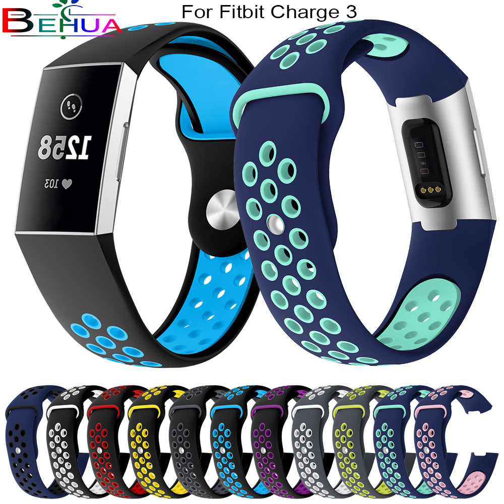 For Fitbit Charge 3 soft silicone smart watch wrist wristband replacement sports strap all kinds of outdoor activities 23mm 20mm in Watchbands from Watches