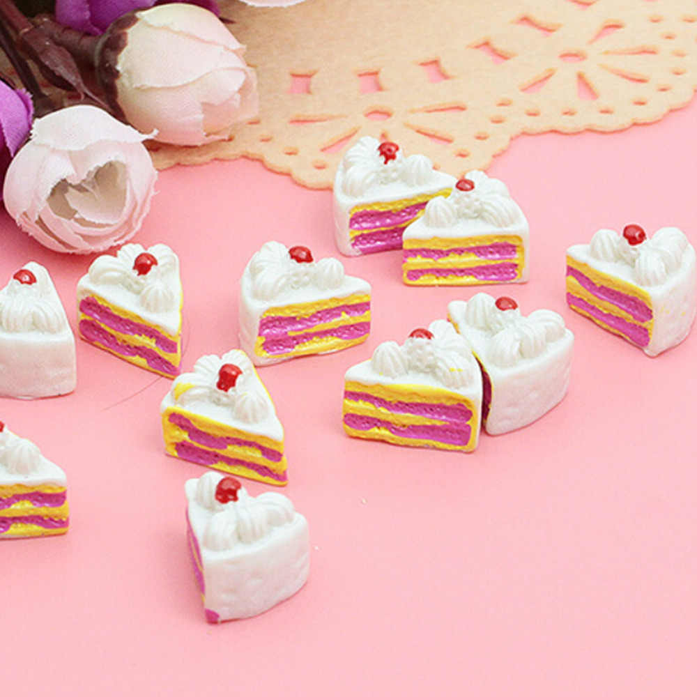 10Pcs Kawaii Datar Kembali DIY Miniatur Buatan Palsu Makanan Kue Resin Cabochon Kerajinan Dekoratif Bermain Rumah Boneka Mainan