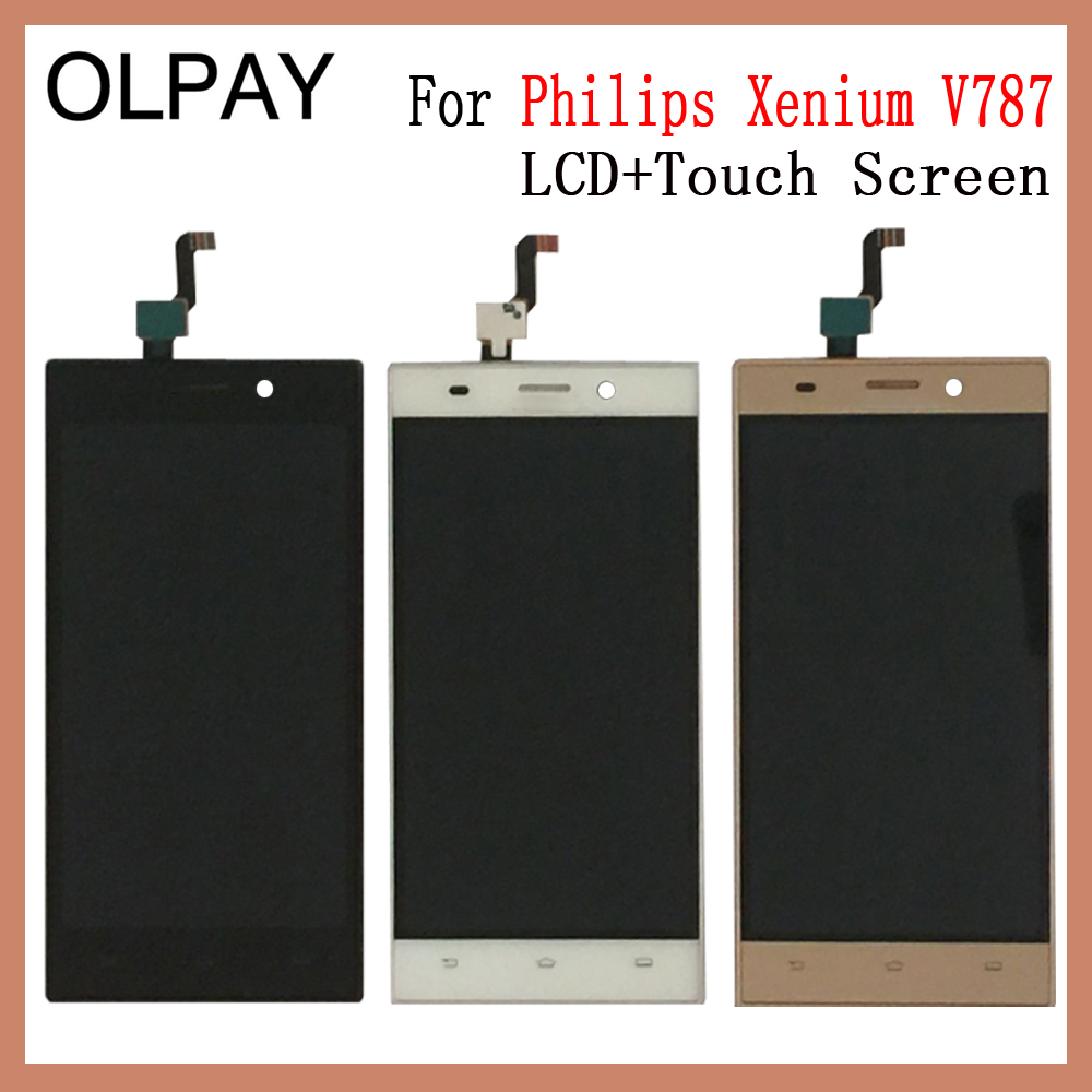 OLPAY 5.0'' New Original For Philips Xenium V787 V 787 CellPhone LCD Display + Touch Screen Digitizer Assembly Replacement Glass image