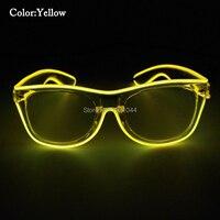Şeffaf Plastik Gözlük Parlayan EL Tel Neon glow işık Toptan parti malzemeleri için 50 adet Ucuz Moda Yanıp Sahne