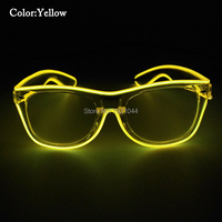 Transparent Plastic Glowing Glasses EL Wire Neon Glow Light Wholesale 50pcs Cheap Fashion Flashing Props For
