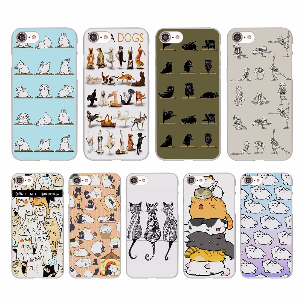 Милые Йога кошки собаки Дизайн Жесткий Белая кожа чехол для Apple iPhone 7 7 Plus 6S 6 Plus SE 5 5S 5C