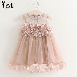 1st Girls Dress 2018 New Summer Mesh Girls Clothes Pink Applique Princess Dress Children Summer Clothes Baby Girls Dress