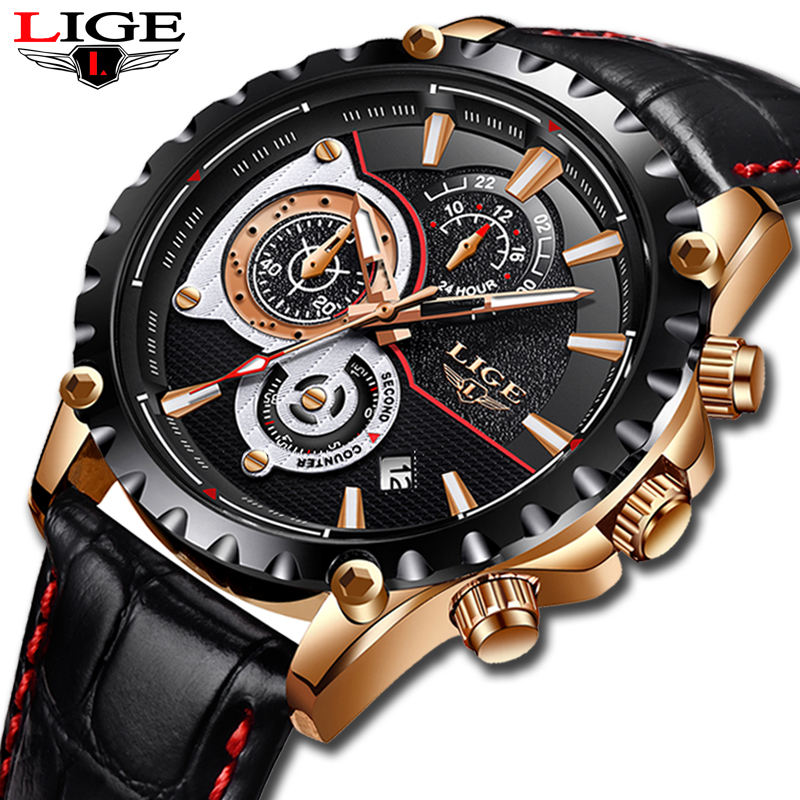Watch men Top Brand LIGE Luxury Quartz clock mens Watches Sports Chronograph leather Waterproof fashion Watch relogio masculino redear top brand wood watch men women wooden watches japan miyota fashion watch leather clock relogio feminino relogio masculino