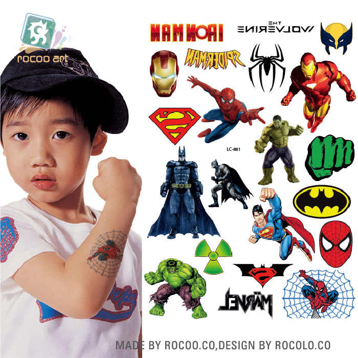 Rocooart Different Cartoon Ultraman Batman Hero Princess Temporary Tattoos Waterproof Body Face Tatoo Sticker Taty For Kids