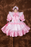 Sexy Lockable Pink Satin Lace Bowknot Sissy Maid Short Dress Cosplay Uniform[S016]