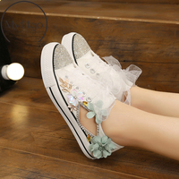 Myfitgo Wedding Bridal Shoes Women Vulcanized Shoes Flat Canvas Sneakers Bling Crystal Flowers Platform Female Casual Shoes